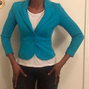 H&M Turquoise Three Quarter Sleeve Blazer